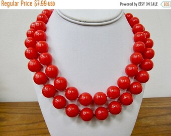 On Sale Vintage Red Plastic Beaded Necklace Item K # 109