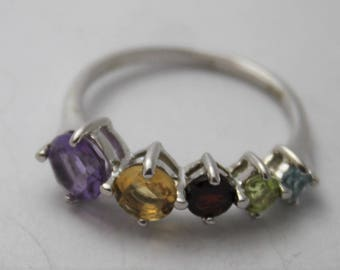Multi Gem Stone Silver Ring Gift Boxd
