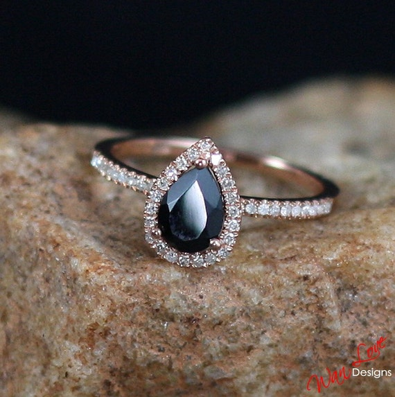 Black Spinel Amp Diamond Pear Halo Engagement Ring 1ct 7x5mm 14k
