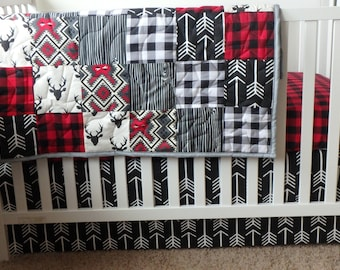 Lodge 2 Patchwork Baby Minky Blanket or Quilt