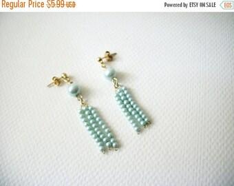 ON SALE Vintage 1955 Pale Blue Faux Pearls Dangle Earrings 121416