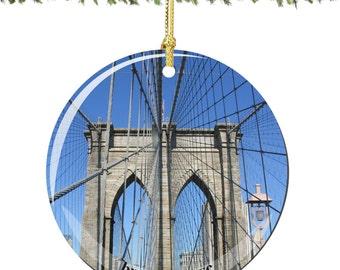 Brooklyn Bridge Porcelain Christmas Ornament Decoration