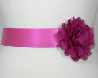 Fuchsia Bridal Sash, Wedding Belt, Bridal Belt, Flower Girl Dress Sash, Bridesmaid Belt, Satin Sash, Simple Wedding Dress Sash Belt POSY