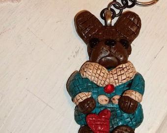 Beautiful Boutique Key Chain French Bulldog Dog Ooak Vintage STyle Mosaic