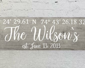 Coordinates Sign|GPS Sign|Custom Coordinates Sign|Wedding Gift|Wood Wall Art|Family Name Sign|Personalized Wood Sign|Housewarming Gift