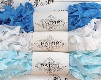 Seam Binding Ribbon, Shabby Crinkled Ribbon, Blue, White, Rayon Ribbon, French Vintage,Junk Journals, Sewing, Doll Making, Cote d'Azur