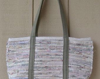 Natural Mix Market Bag /Olive Green Straps