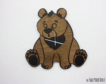 Cute bear - Wooden Wall Clock