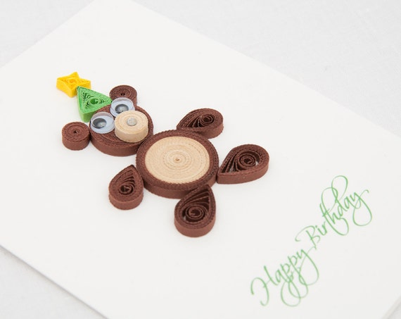 Items similar to funny birthday card for kids quilling cute quilled items similar to funny birthday card for kids quilling cute quilled bear sweet happy birthday gift for a boy unique handmade birthday invitation on etsy stopboris Choice Image