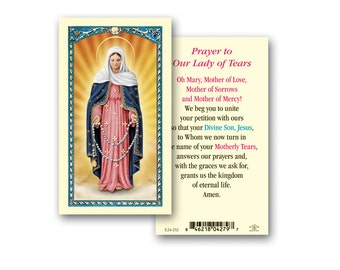 """Our Lady of Tears  Clear, laminated Italian holy cards with Gold Accents. Features World Famous Fratelli-Bonella Artwork. 2.5"""" x 4.5"""""""