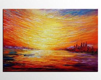 Canvas Art, Oil Painting, Boat at Sea, Sunrise Painting, Large Art, Wall Art, Abstract Wall Art, Large Wall Art, Extract Large Painting