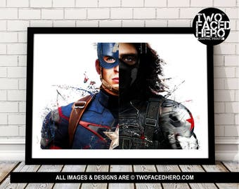 Captain America and Winter Soldier Art Print, Steve Rogers Vintage Marvel Superhero Inspired, Quote, Avengers Art, Civil War, Bucky Barnes