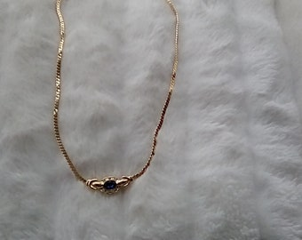 Gold p!ated sapphire necklace
