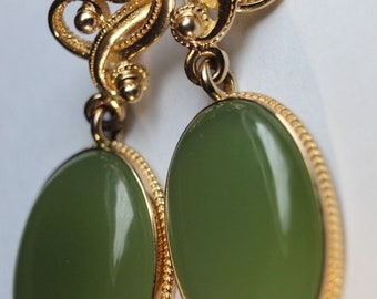 14K 585 Gold Earrings gr 12,54 Jade     New with tags