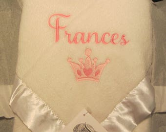Custom Personalized Name and Crown Fleece Baby Blanket