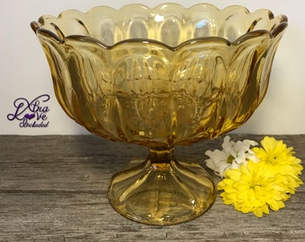 Vintage Anchor Hocking Fairfield Compote, Fairfield Fruit Bowl, Mid Century Compote, Amber Glass Pedestal Fruit Bowl