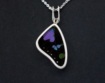 Butterfly necklace Purple Best friend Gift for women Boyfriend gift Mom gift Insect jewelry Handmade jewelry Butterfly wing jewelry