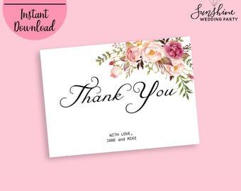 Thank you Card Flat Thank You Card Wedding Thank You Cards Boho Chic Thank You Card Floral Thank You Note Thank You Card Set Digital