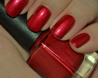 Cajun Red Hot - Bright Red Shimmer Sparkle Nail Polish