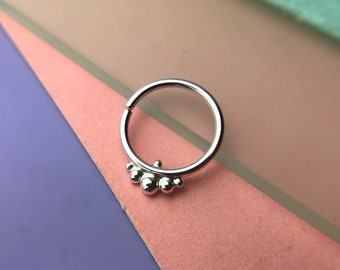 Harmony Septum Ring - Solid Nickel Free Sterling Silver - Piercing Septum Daith Helix Rook Nostril