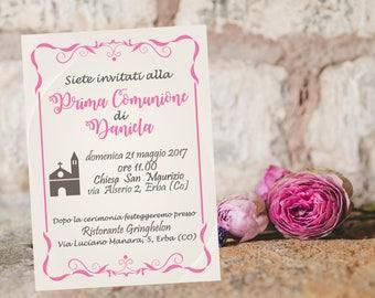 First Communion Invitation ticket, Baptism ticket, confirmation ticket, digital printable invitation