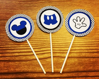 Mickey Mouse Cupcake Toppers (Blue, Black & White)