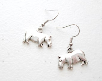 Small Silver Hippo Dangle Earrings / Hippo Earrings / Hippopotamus Earrings