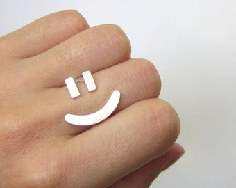 Happy Face Ring (Adjustable Sterling Silver Rings) - On Sale