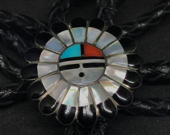 Vintage Old Pawn Sterling SIlver Zia Sun Face Zuni Inlay Bolo Tie MARKED