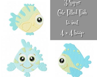 Cute FISH Multipack ~ 3 Filled Super Cute Fish Machine Embroidery Designs - Instant Download ~ Here Fishy Fishy Fishy