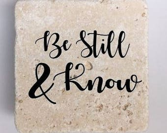 Be Still & Know Natural Travertine Tile Tumbled Stone Table Coasters Set of 4 with Full Cork Bottom Inspirational Coasters