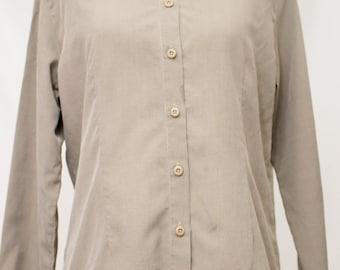 Earthy Vintage LL Bean Button Down Fine Herringbone Print Tencel/Poly Shirt