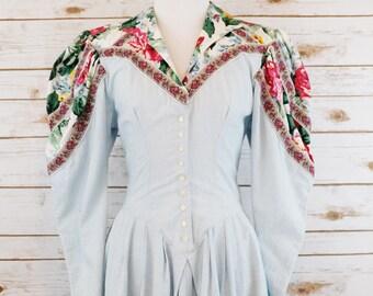 1980s puffed Sleeve Menu Dress
