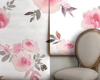 Watercolor Floral Mural • Easy to Apply Removable Peel 'n Stick Wallpaper