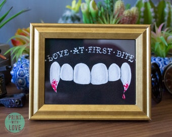 Framed Vampire Dracula Fang Love at First Bite Halloween Goth Tattoo Style Acrylic Mini Tabletop Painting Free US Shipping