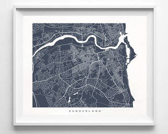 Sunderland Print, England Print, Sunderland Poster, England Poster, Sunderland Map, Bathroom Wall Art, Custom Artwork, Mothers Day Gift