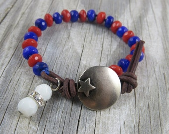 semi precious gemstone bracelet, 4th of july bracelet, patriotic bracelet, star bracelet, jade bracelet, red white and blue bracelet