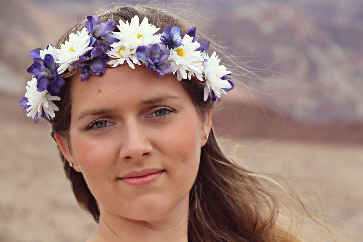 Sale field of daisies spring daisy floral crown floral wreath sale field of daisies spring daisy floral crown floral wreath violets hippie flower crown boho style coachella wedding izmirmasajfo