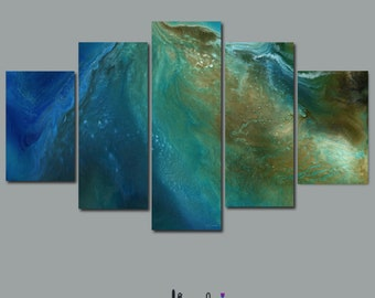 Multi panel abstract wall art Masculine, Blue brown gold green, Canvas 5 piece, Cosmic inspired, Bedroom, Living room, Dining, Office decor