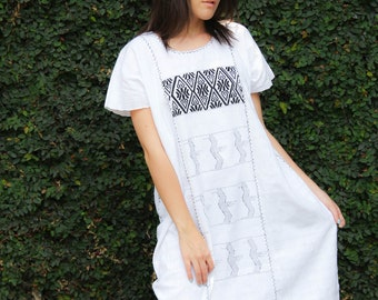 White with Black  Huipil Dress Handwoven