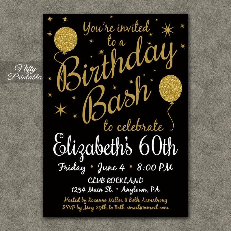 60th Birthday Invitations Printable 60 Black Gold Glitter