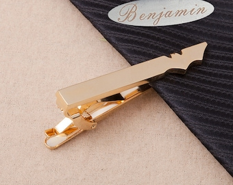 Custom Tie clip ,personalized tie bar,Gold Bat Tie Clip,groomsmen gifts,husband gift,fashion,luxury,Best Man Gift