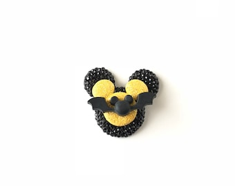 Mickey Bat Pin, Mickey Halloween Pin, Badge, Brooch, Disney Pins, Disney Cruise, Dapper Day, Jewelry, Black and Yellow Bat Pin, Mickey Ears