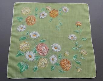 Vintage 1950s Floral Cotton Hankie Handkerchief