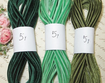 "5y Tiny 1/8"" EMERALD FOREST GREEN Velvet Ribbon Antique Vintage Ochre Boho Choker  Trim Doll Dress 1920s Flapper Applique Crushed Ombre"