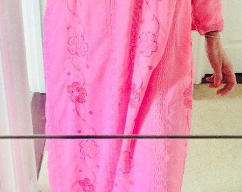 Embroidered sequened maxi pink chiffon dress