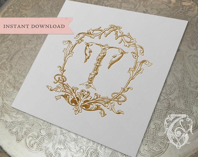 Wedding Crest Vintage Initial T Wreath Crest Digital Download