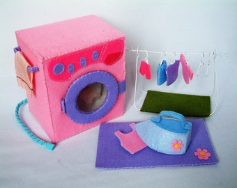 New Felt toys pattern,Washing machine set--PDF pattern via Email--T12