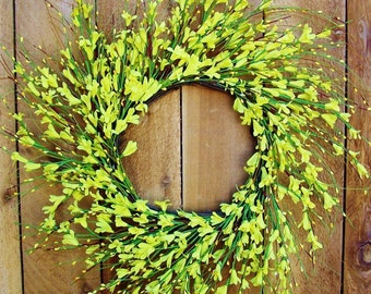 Spring Front Door Wreath-Spring Wreath-Front Door Wreath-Spring Door Wreath-Summer Door Wreath-YELLOW FORSYTHIA Floral Door Wreath-Wreaths
