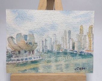 Aceo Original, The bay, Singapore skyline, not a print, watercolor painting, id180320 miniature art landscape, building